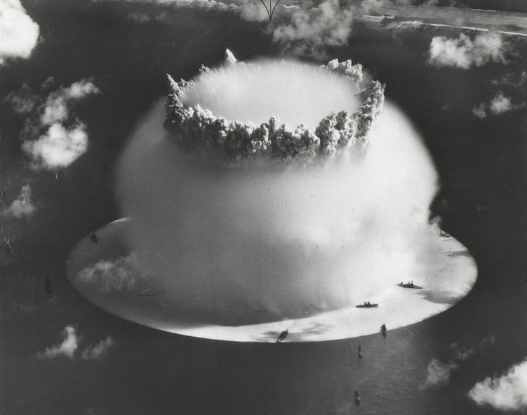 An underwater nuclear bomb test shot in 1946